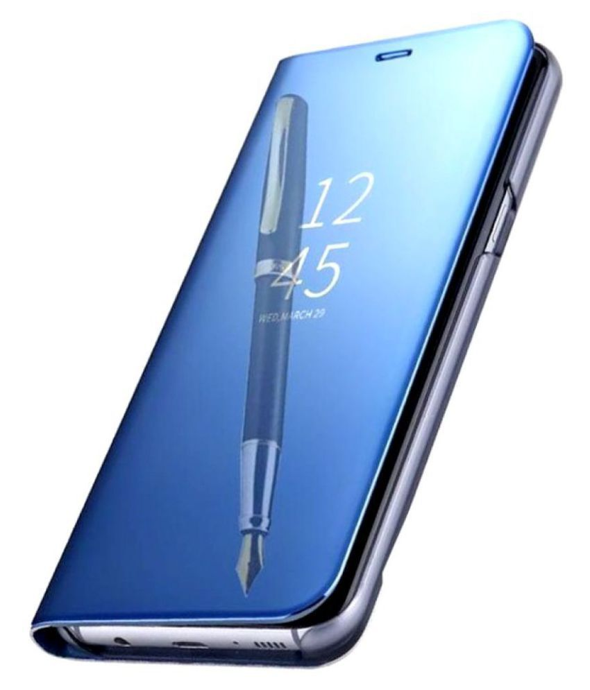 Oppo A71 Flip Cover by KOVADO - Blue Blue Clear View Mirror Flip Case With Media Stand