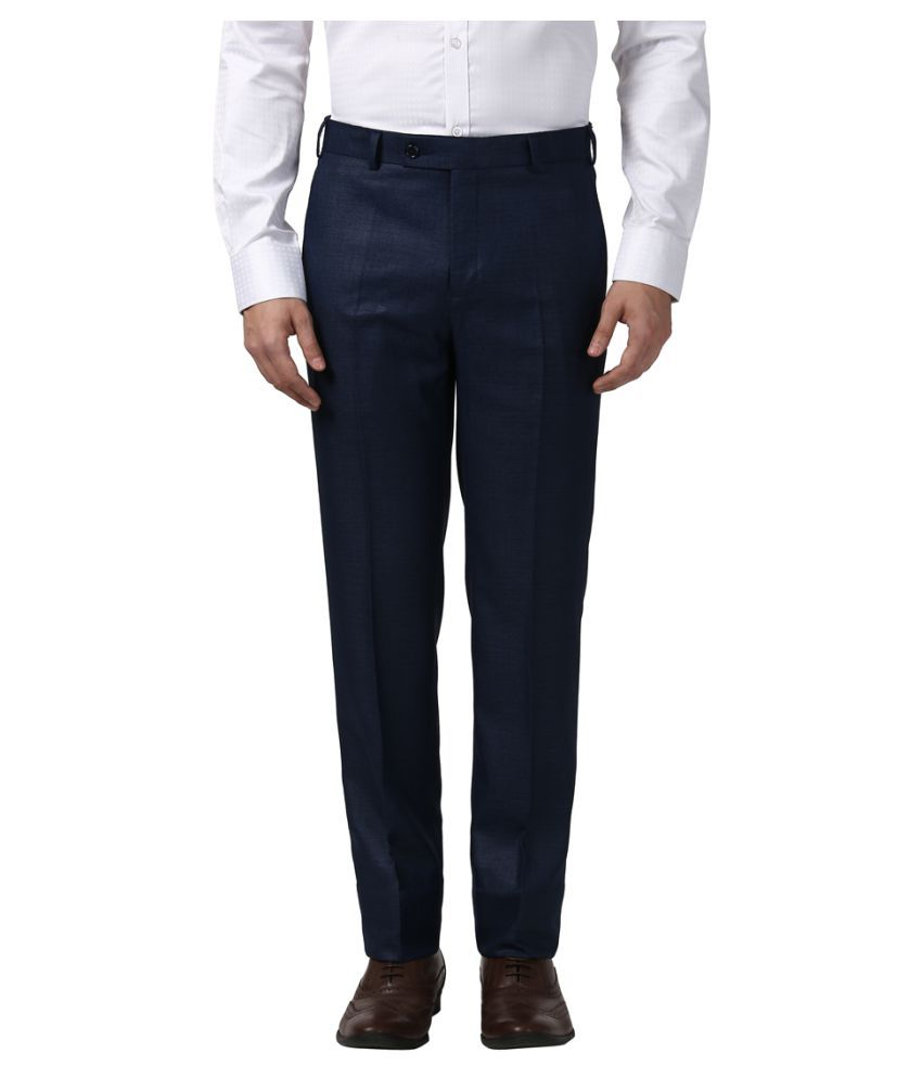 Next Look Blue Regular -Fit Flat Trousers