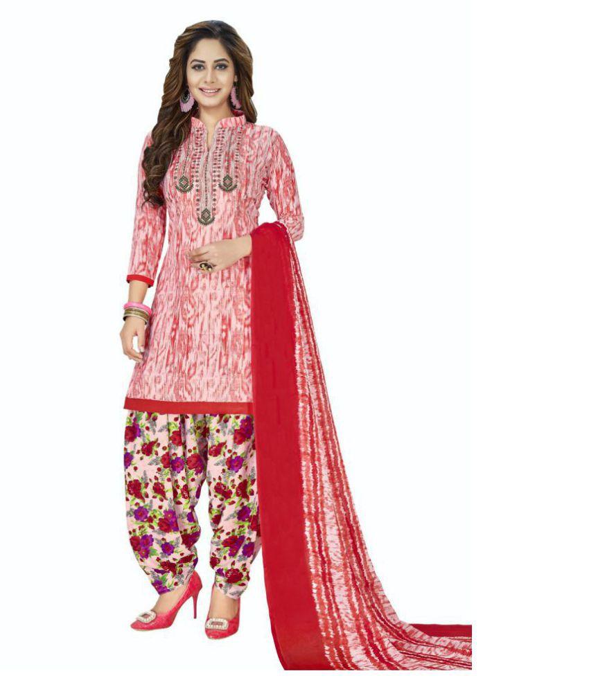 Women Shoppee Pink,Beige Synthetic Dress Material