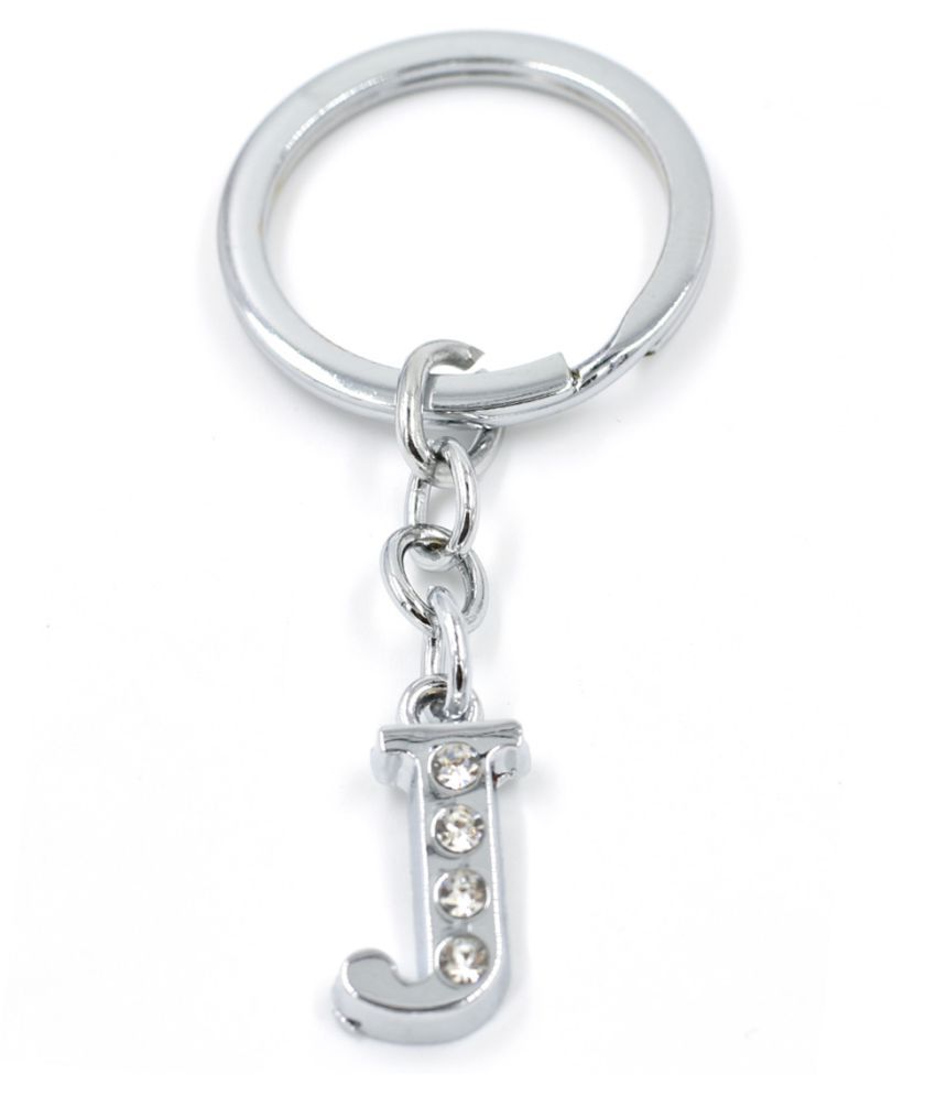 Faynci Alphabet J Metal Key Chain For Unisex with attractive Diamond
