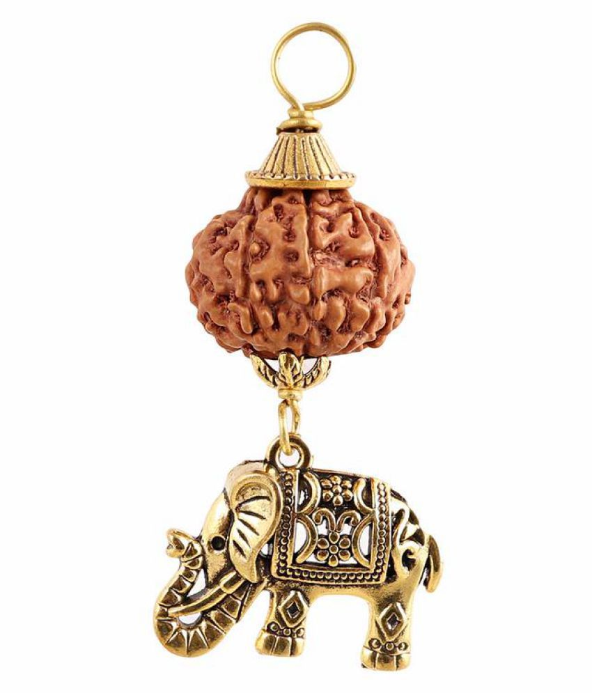 Rudra Blessings 10 Mukhi Indonesian Rudraksha Pendant with Elephant Accessory - 1