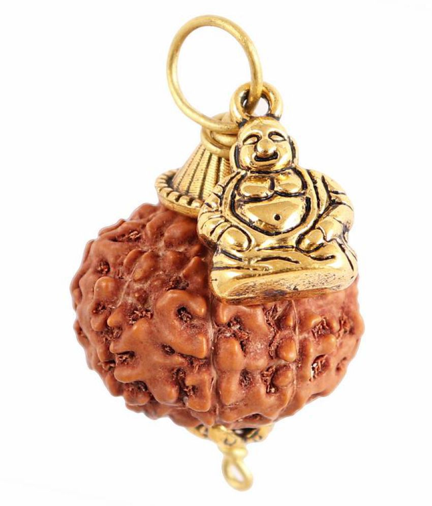 Rudra Blessings 10 Mukhi Indonesian Rudraksha  Pendant with Laughing Buddha Accessory