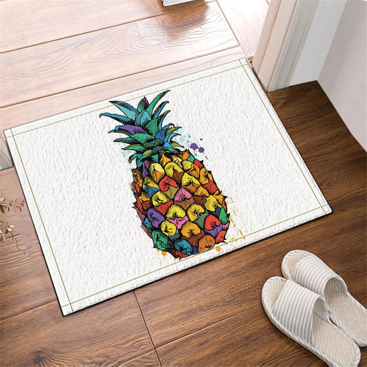 180 180cm Colorful Pineapple Polyester Bathroom Shower