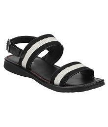 Red Tape Black Mesh/Textile Sandals