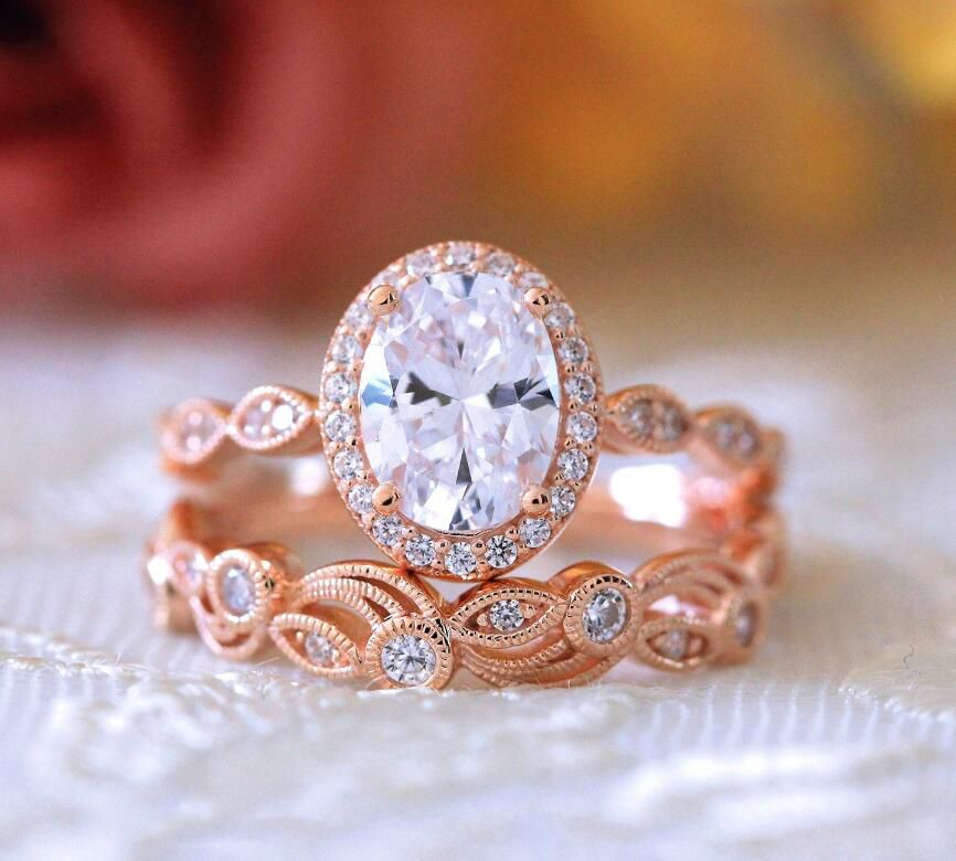 Rose Golden Color New Openwork Diamond Ring Fashion Jewellery