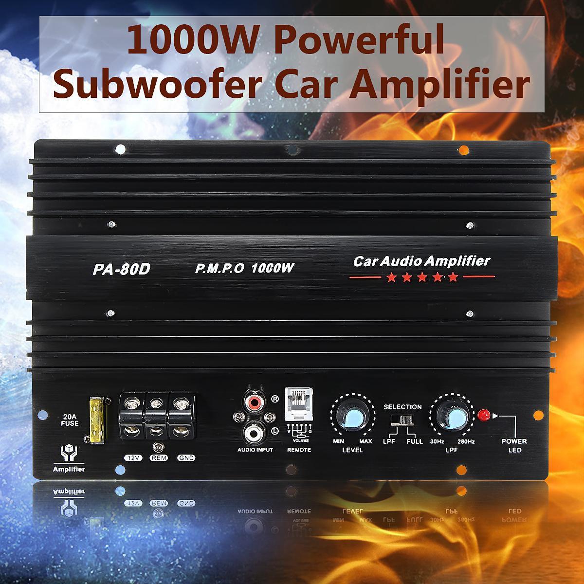 Kroak 12v 1000w 10 Inch Mono Car Audio Power Amplifier Powerful Bass