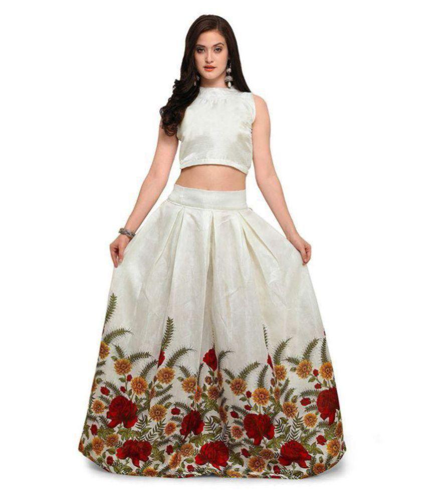 6ae1801d2b Manshi Fashion White Satin Circular Semi Stitched Lehenga - Buy Manshi  Fashion White Satin Circular Semi Stitched Lehenga Online at Best Prices in  India on ...