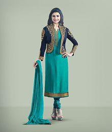 55ed731dbbb7 Quick View. Darshita International Turquoise Georgette Dress Material ...
