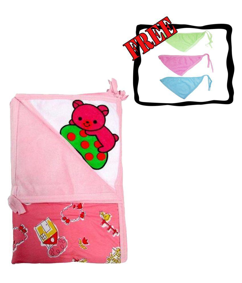 Baby Pink Cotton Baby Wrap cum blanket ( 67 cm × 53 cm - 1 pcs)