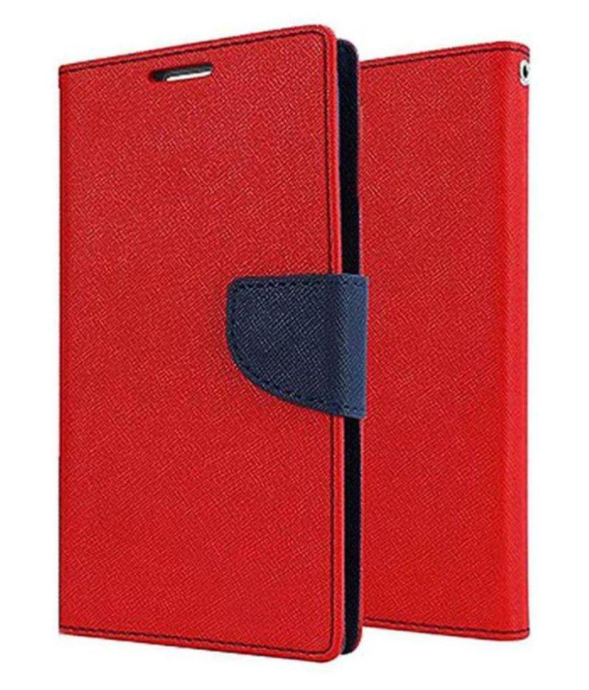 Oppo F3 Flip Cover by Lejaao - Red Mercury Magnetic Wallet Flip Case