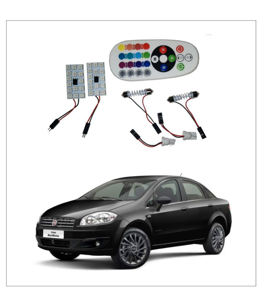 Trigcars Fiat Linea 2X16 Colors Rgb Bright 5050 Led Car Roof Dome Light Festoon + T10 Ir Remote + Free Bluetooth