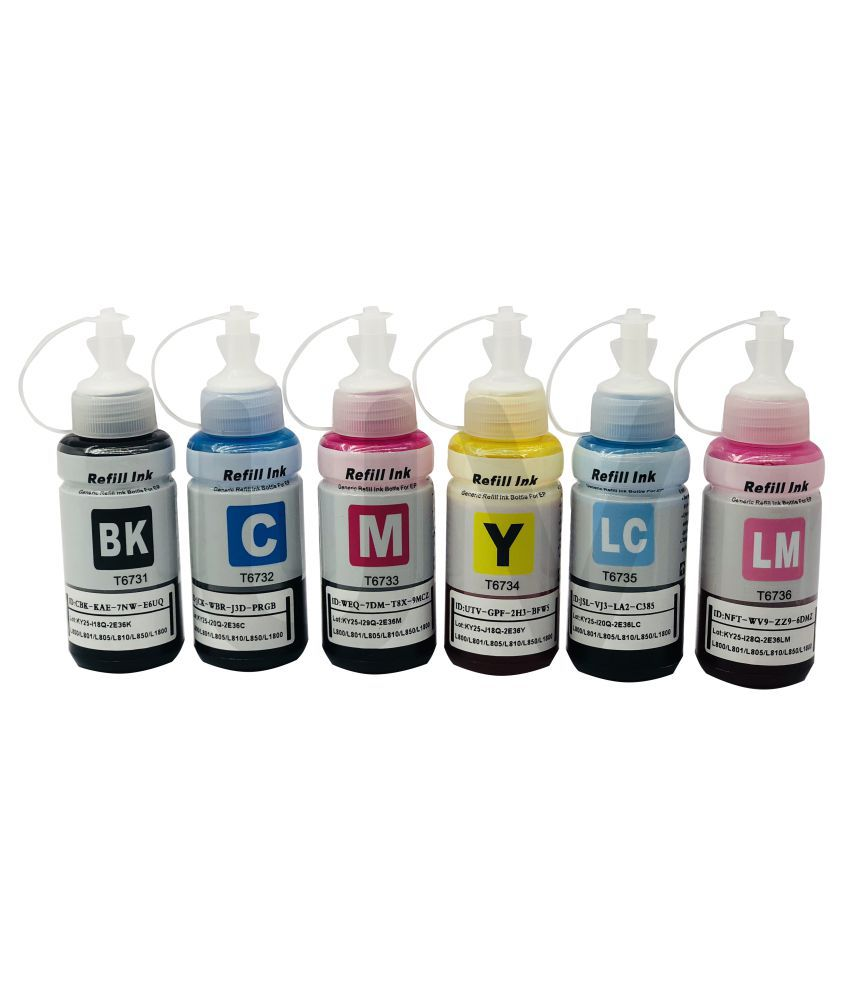 UV T6731/32/33/34/35/36 Multicolor Pack of 6 Ink bottle for Use with L 800 / L 805/ L 810 / L 850 / L 1800 Printers