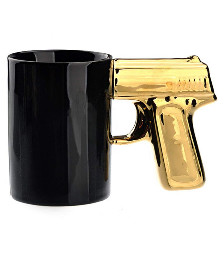 Golden Ceramic Awestuffs Mug Coffee Grip 1 Pistol Handle Gun SUzpGMVq