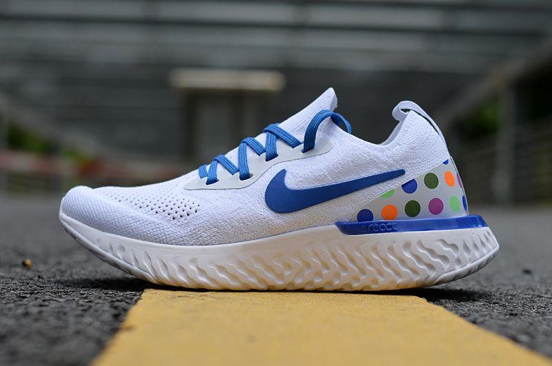size 40 dee9d d9413 Nike EPIC REACT FLYKNIT 2 White DOTS PARIS White Lifestyle Shoes