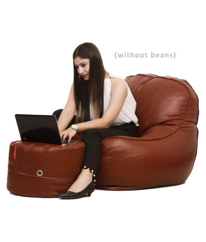 XXXL Lounge Chair Luxury Bean Bag Cover with Footrest/Sofa Chair Without Beans Brown-Premium Quality -Comfortable - Buy XXXL Lounge Chair Luxury Bean Bag ...  sc 1 st  Snapdeal & XXXL Lounge Chair Luxury Bean Bag Cover with Footrest/Sofa Chair ...