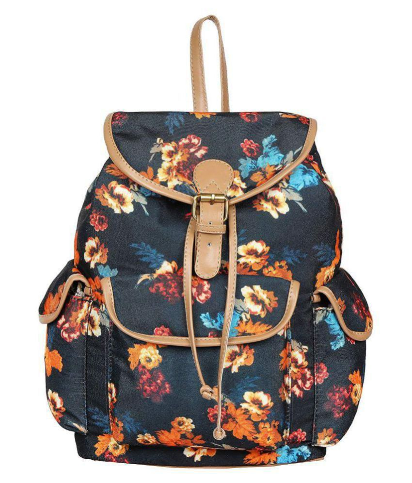 Lychee Bags Black Canvas Backpack