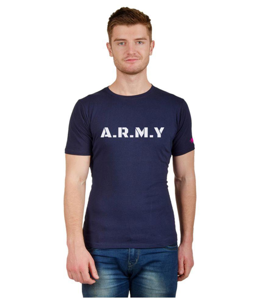 PrintOctopus Navy Half Sleeve T-Shirt Pack of 1