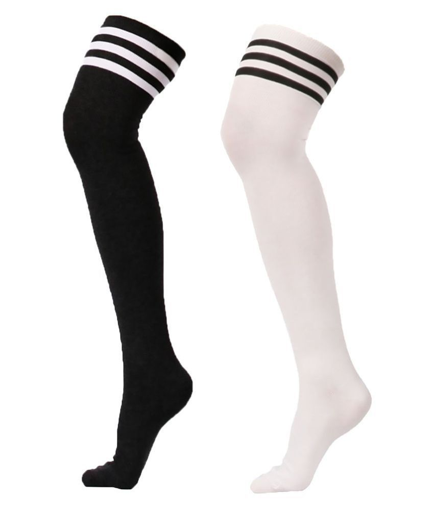 e67c1166ae464 PACK OF 2 , Xs and Os Women Over the Knee Socks Cosplay Socks (Black White,  Free Size): Buy Online at Low Price in India - Snapdeal