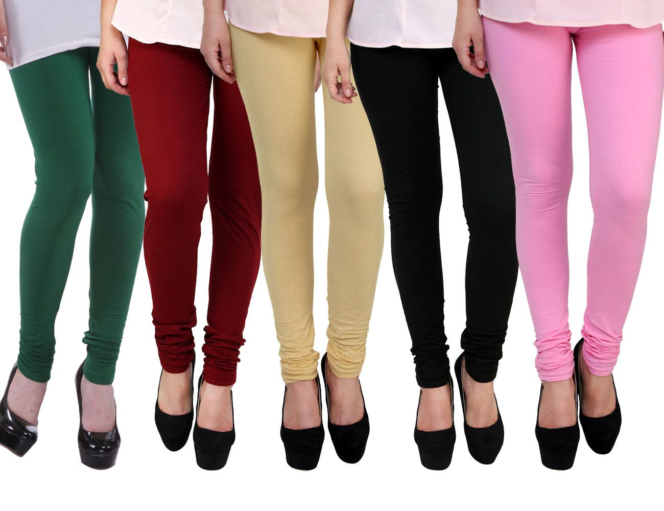 E'hiose Cotton Lycra Pack of 5 Leggings