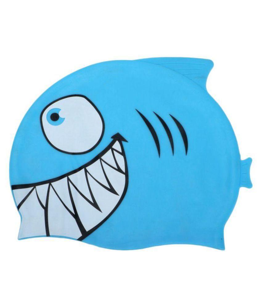 Passion Petals Cartoon Swimming Cap Silicone Diving Waterproof Swim Hat Kids Girl Boy Favour Bathing Cap With Fish Shark Pattern 22*18cm - Blue