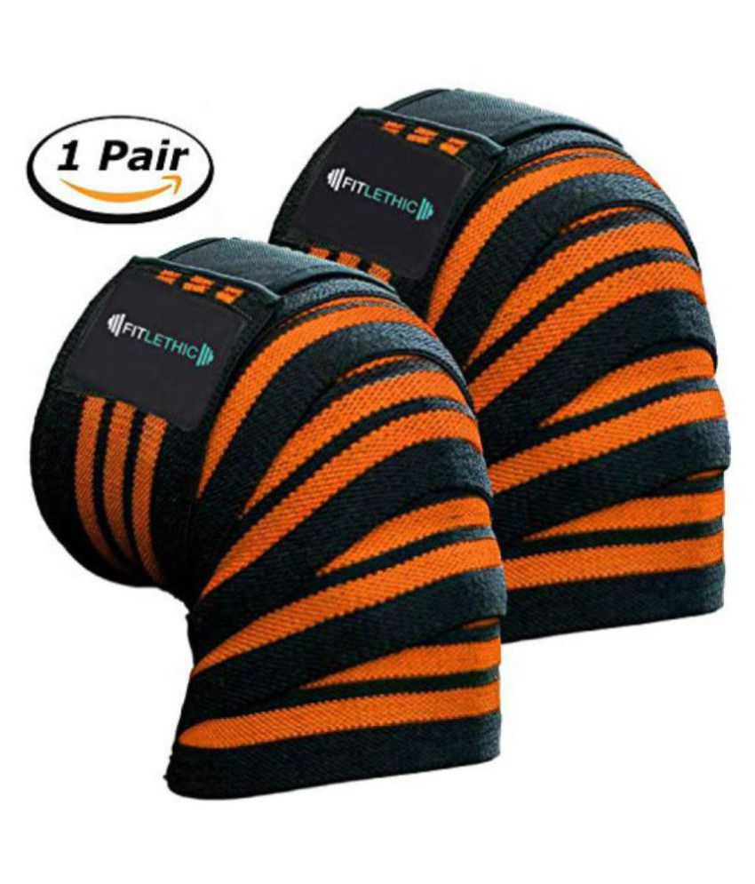 6e943f09dc Fitlethic Weight Lifting Knee Wraps Straps Pair Unisex - 84 inches Long  Adjustable Knee Support Compression ...
