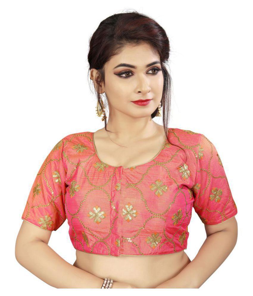 Fab Dadu Peach Silk Readymade with Pad Blouse