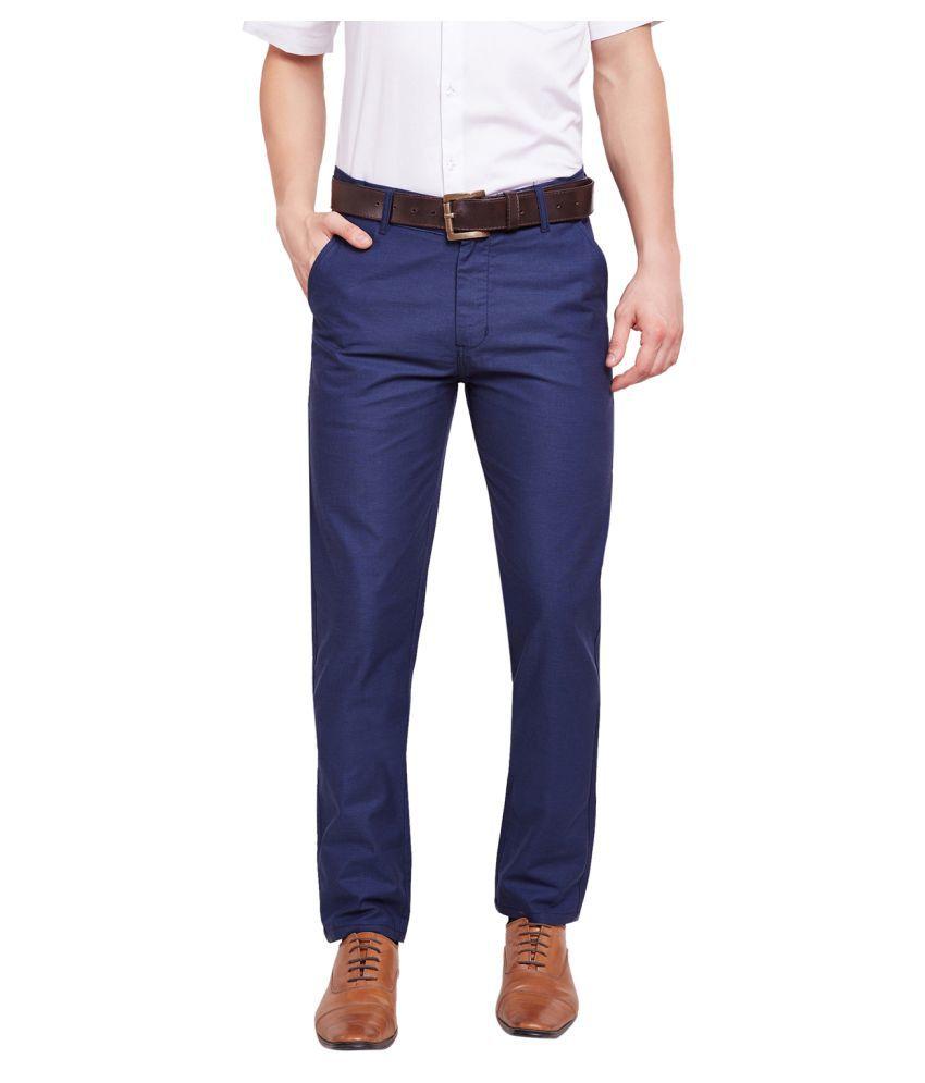 Hancock Blue Slim -Fit Flat Trousers