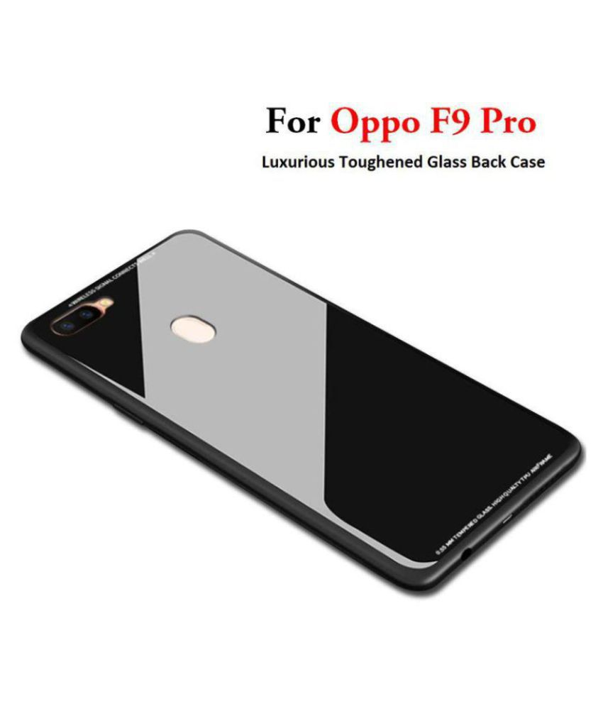 Oppo F9 Pro Mirror Back Covers Kosher Traders - Black 360° Protection  Toughened Glass Back Case
