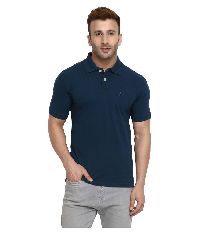 CHKOKKO Cotton Men Half Sleeves Polo Neck T Shirt Indigo Color Size, 4XL