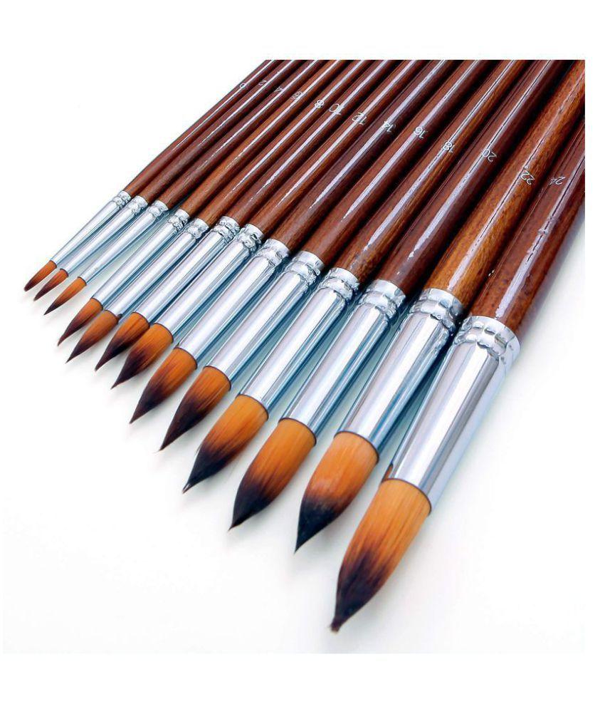 Artbee 13 Pcs Long Handle Round Shape Artist Acrylic Painting Brushes Set