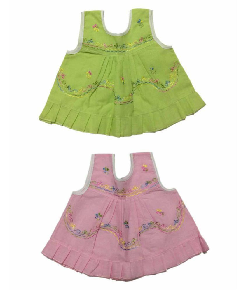 Cute Collection- Cotton frock cum Jhabla for Baby Girls (0 to 6 Months)