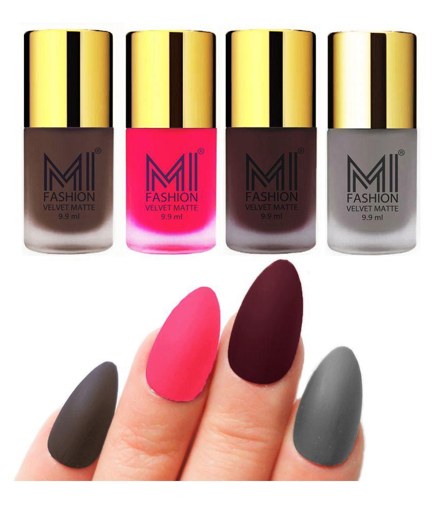 MI FASHION Dull Rough Velvet Matte Nail Polish Coffee,Neon Pink,Wine,Grey Matte Pack of 4 mL