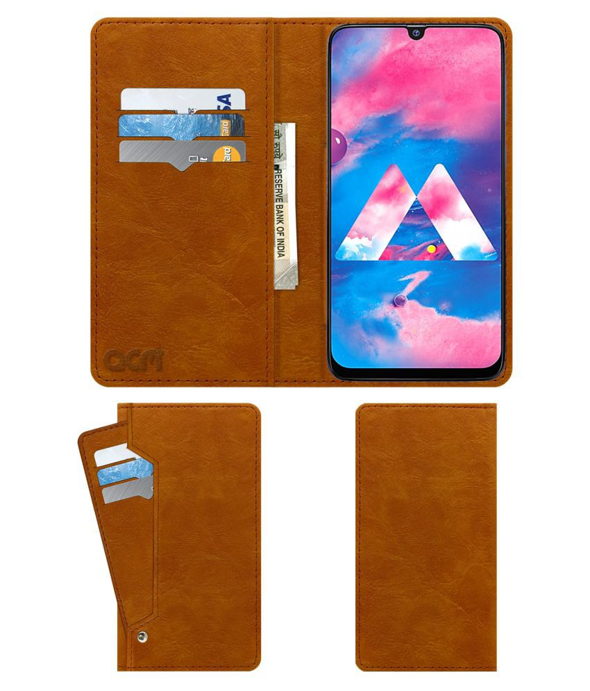 Samsung Galaxy M30 Flip Cover by ACM - Golden Wallet Case,Can store 6 Card & Cash,Classic Golden