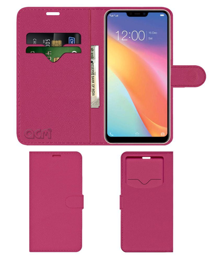 Vivo Y81i Flip Cover by ACM - Pink Wallet Case,Can store 2 Card & 1 Cash Pockets