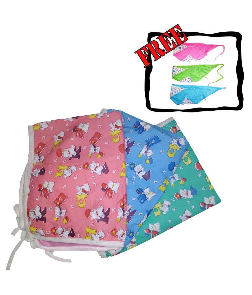 Baby Multi-Colour Cotton Baby Wrap cum blanket ( 67 cm × 53 cm - 3 pcs)