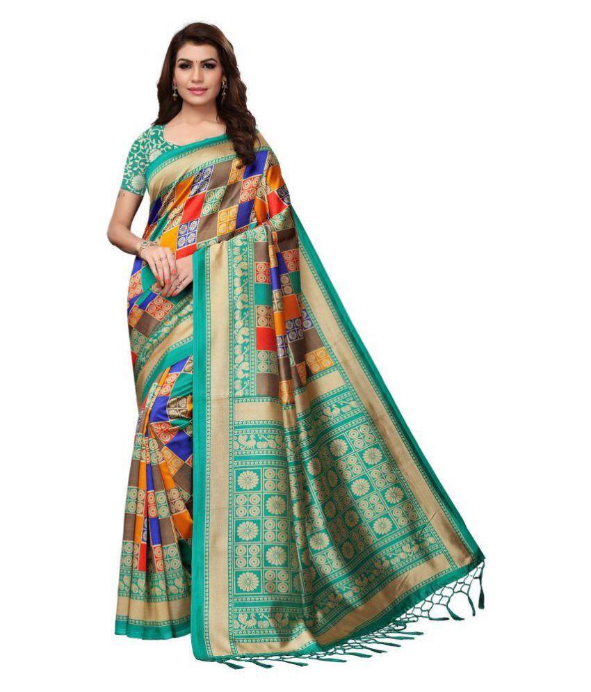 cdf162a1d6 SHREE RAJLAXMI SAREES Green Art Silk Saree - Buy SHREE RAJLAXMI ...