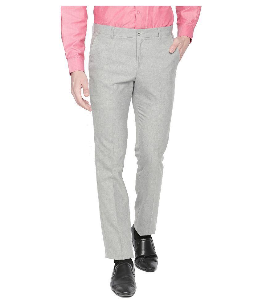 Solemio Grey Slim -Fit Flat Trousers