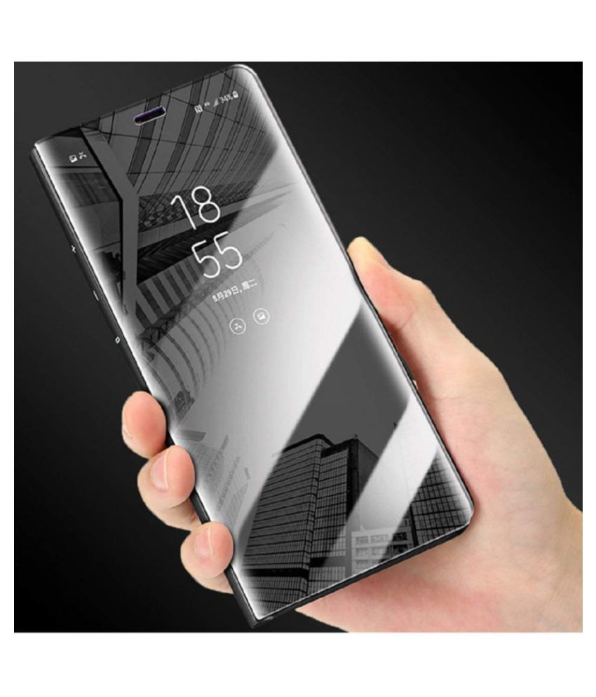 Samsung Galaxy A30 Flip Cover by KOVADO - Black Black Clear View Mirror Flip Case With Media Stand