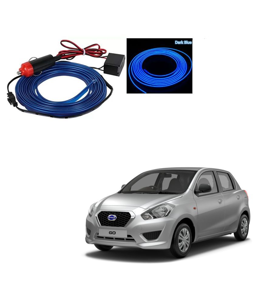 Auto Addict Blue Color 12V 5Mtrs Roll Cold Light Car Socket Strip Neon Lamp EL Wire Decor Interior Lighting For Datsun Go