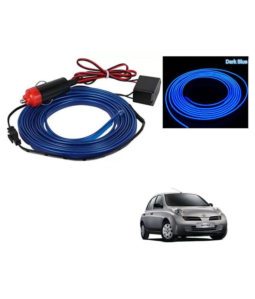 Auto Addict Blue Color 12V 5Mtrs Roll Cold Light Car Socket Strip Neon Lamp EL Wire Decor Interior Lighting For Nissan Micra