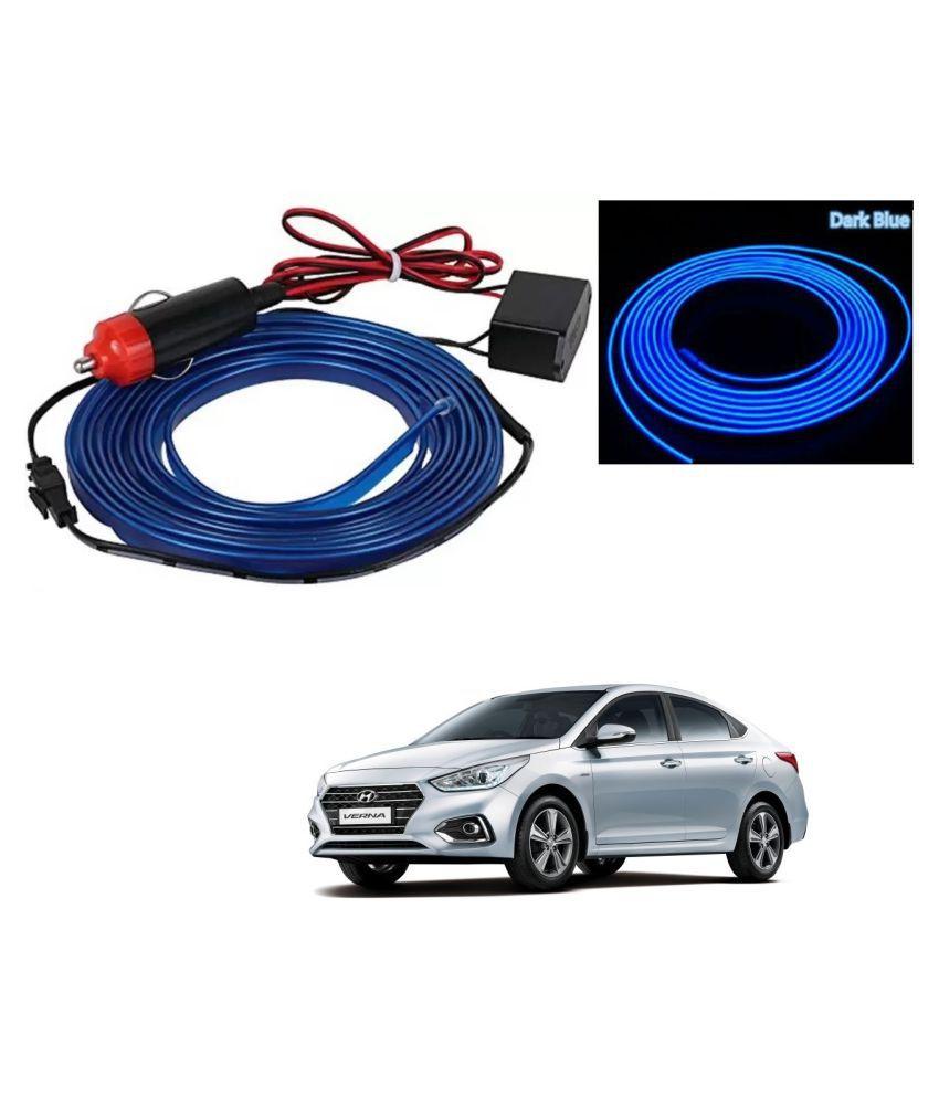 Auto Addict Blue Color 12V 5Mtrs Roll Cold Light Car Socket Strip Neon Lamp EL Wire Decor Interior Lighting For Hyundai Verna Nextgen 2017
