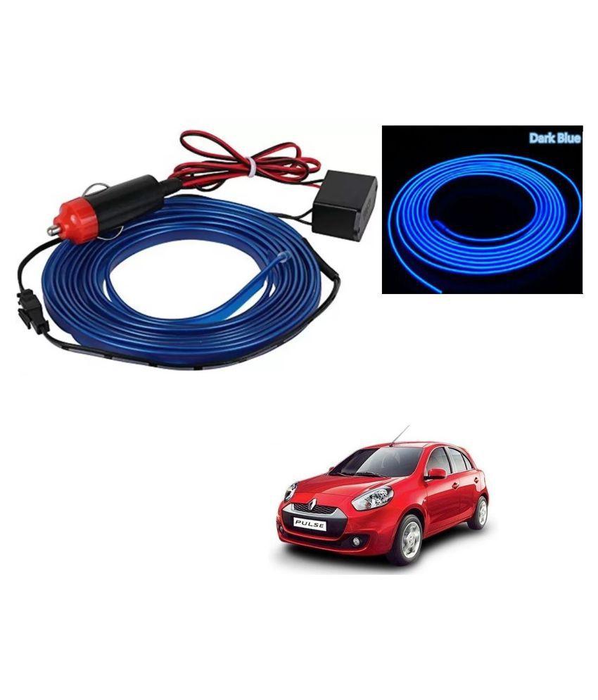Auto Addict Blue Color 12V 5Mtrs Roll Cold Light Car Socket Strip Neon Lamp EL Wire Decor Interior Lighting For Renault Pulse