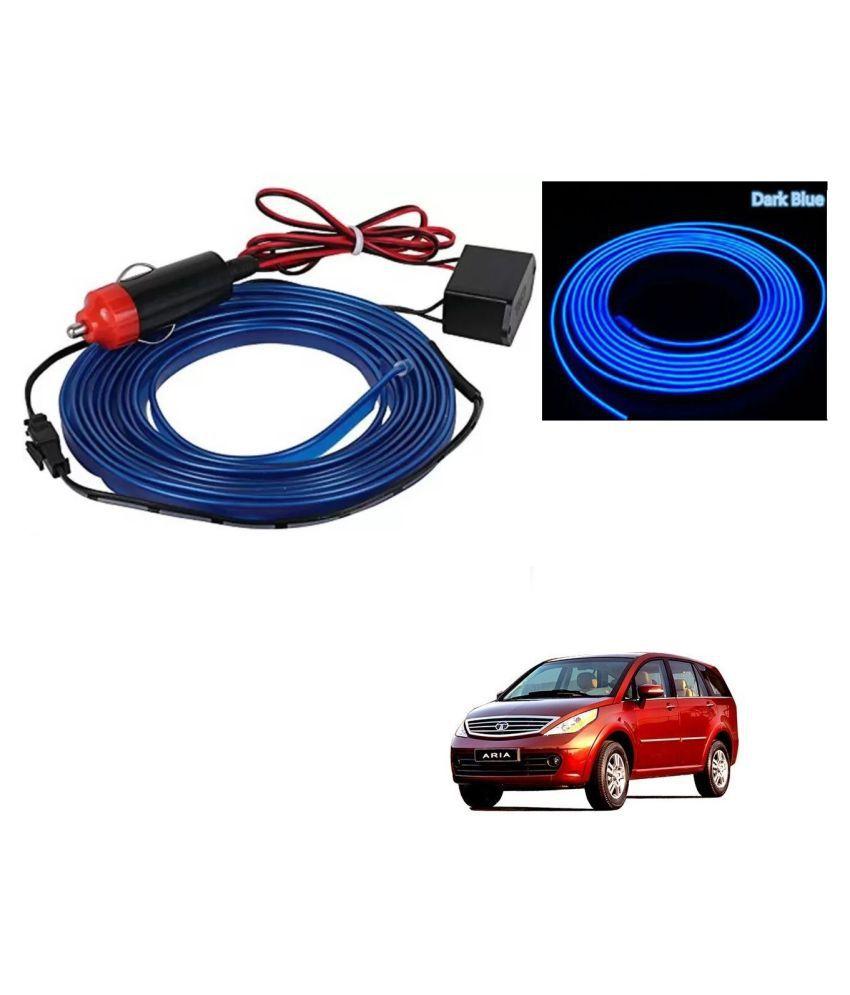 Auto Addict Blue Color 12V 5Mtrs Roll Cold Light Car Socket Strip Neon Lamp EL Wire Decor Interior Lighting For Tata Aria