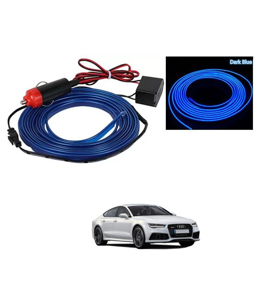 Auto Addict Blue Color 12V 5Mtrs Roll Cold Light Car Socket Strip Neon Lamp EL Wire Decor Interior Lighting For Audi A7