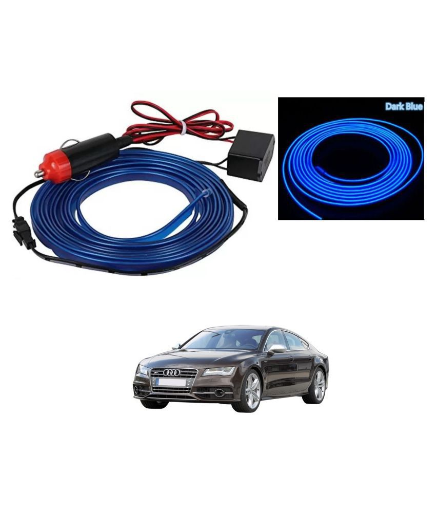 Auto Addict Blue Color 12V 5Mtrs Roll Cold Light Car Socket Strip Neon Lamp EL Wire Decor Interior Lighting For Audi NA