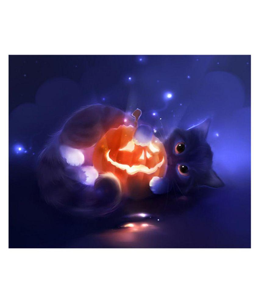 Pumpkin And Cat For Halloween Diamond Painting Mosaic Rhinestone Crystal DIY Painting Cross Stitch