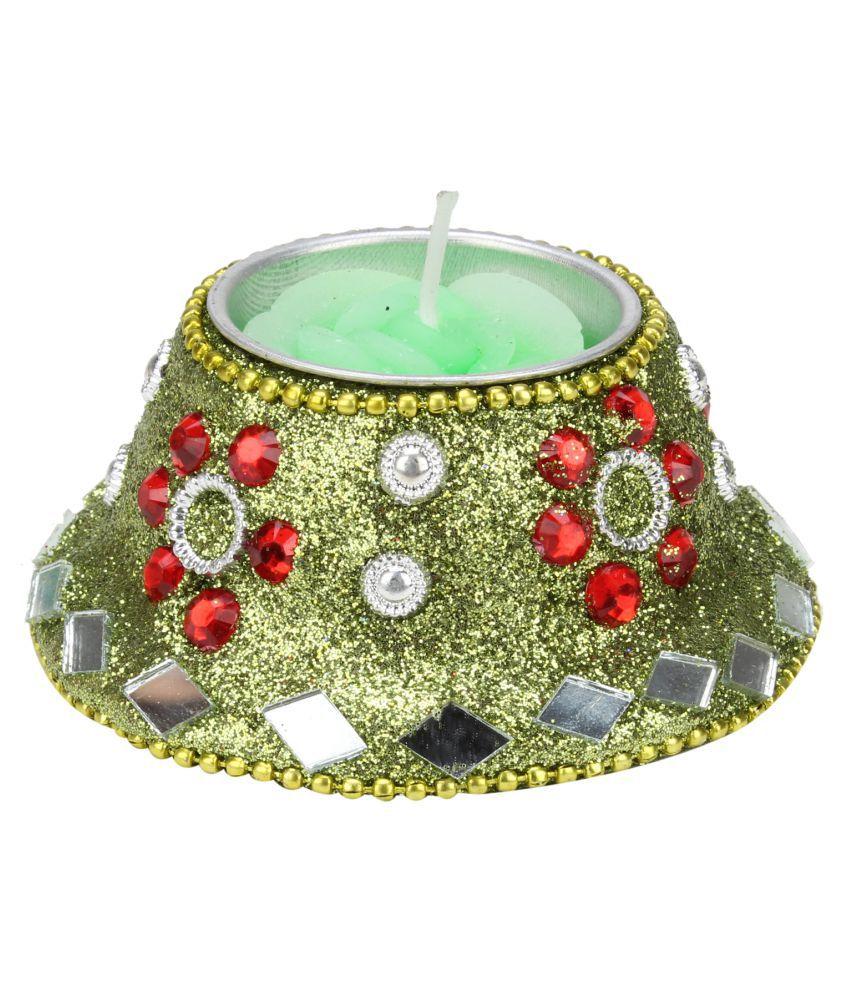 Kritimaa Green Wax Tea Light - Pack of 1