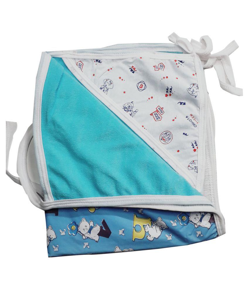 Baby Blue Cotton Baby Wrap cum blanket ( 67 cm × 53 cm - 1 pcs)