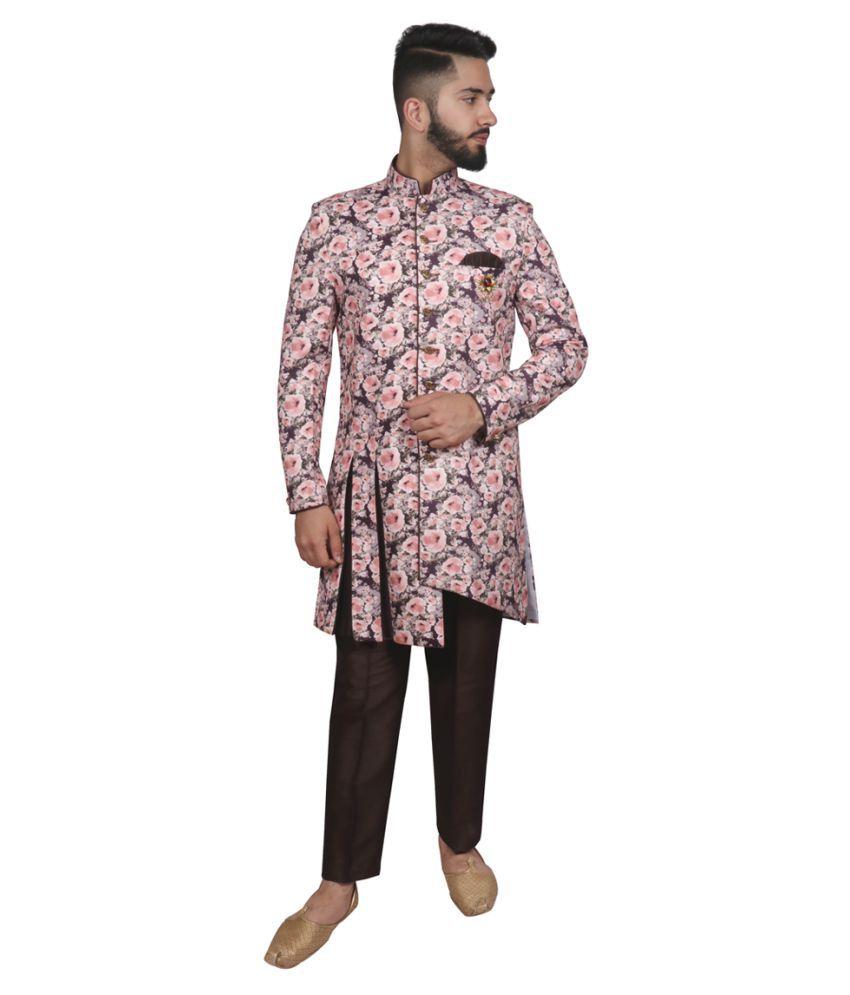 SG RAJASAHAB Brown Polyester Blend Sherwani