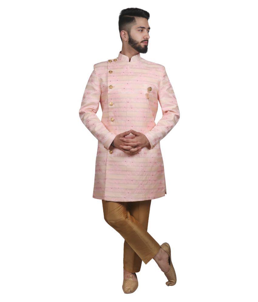 SG RAJASAHAB Pink Polyester Sherwani